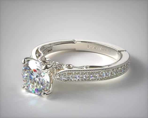 Platinum Scroll Engagement Ring
