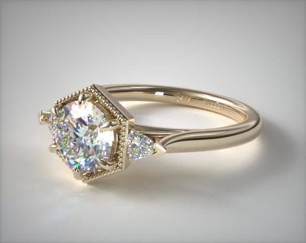 Trilliant Filigree Engagement Ring