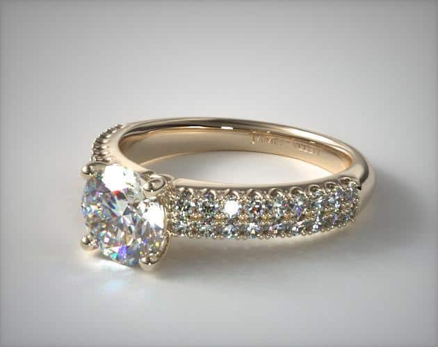 Two-Row U Pave Engagement Ring
