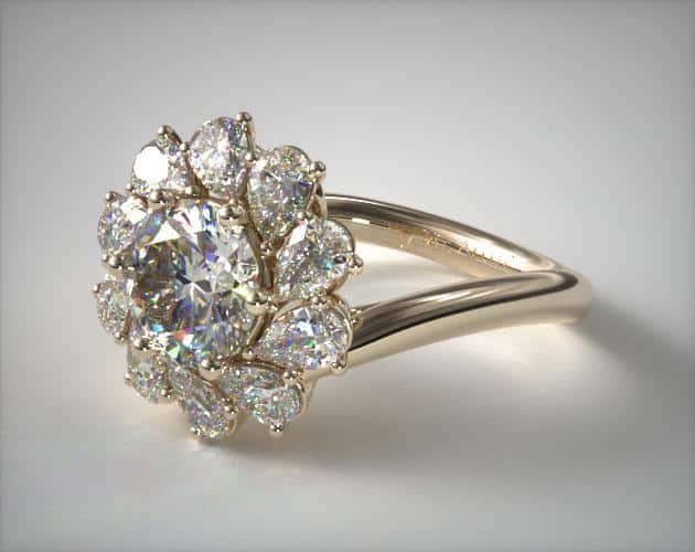 Whirling Halo Engagement Ring