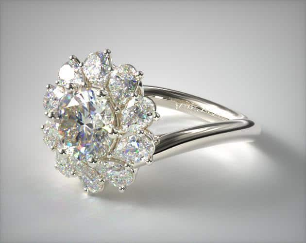 Whirling Halo Pear-Cut Ring
