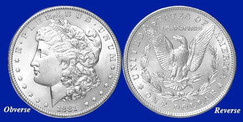 1881 Morgan silver dollar without a mint mark