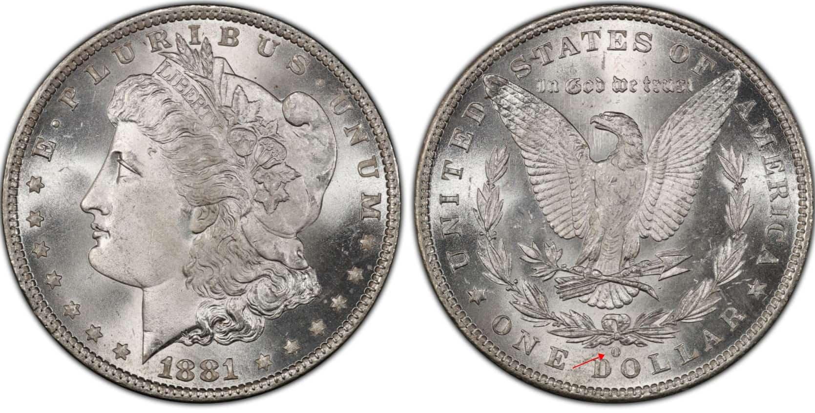 1881 O Morgan silver dollar
