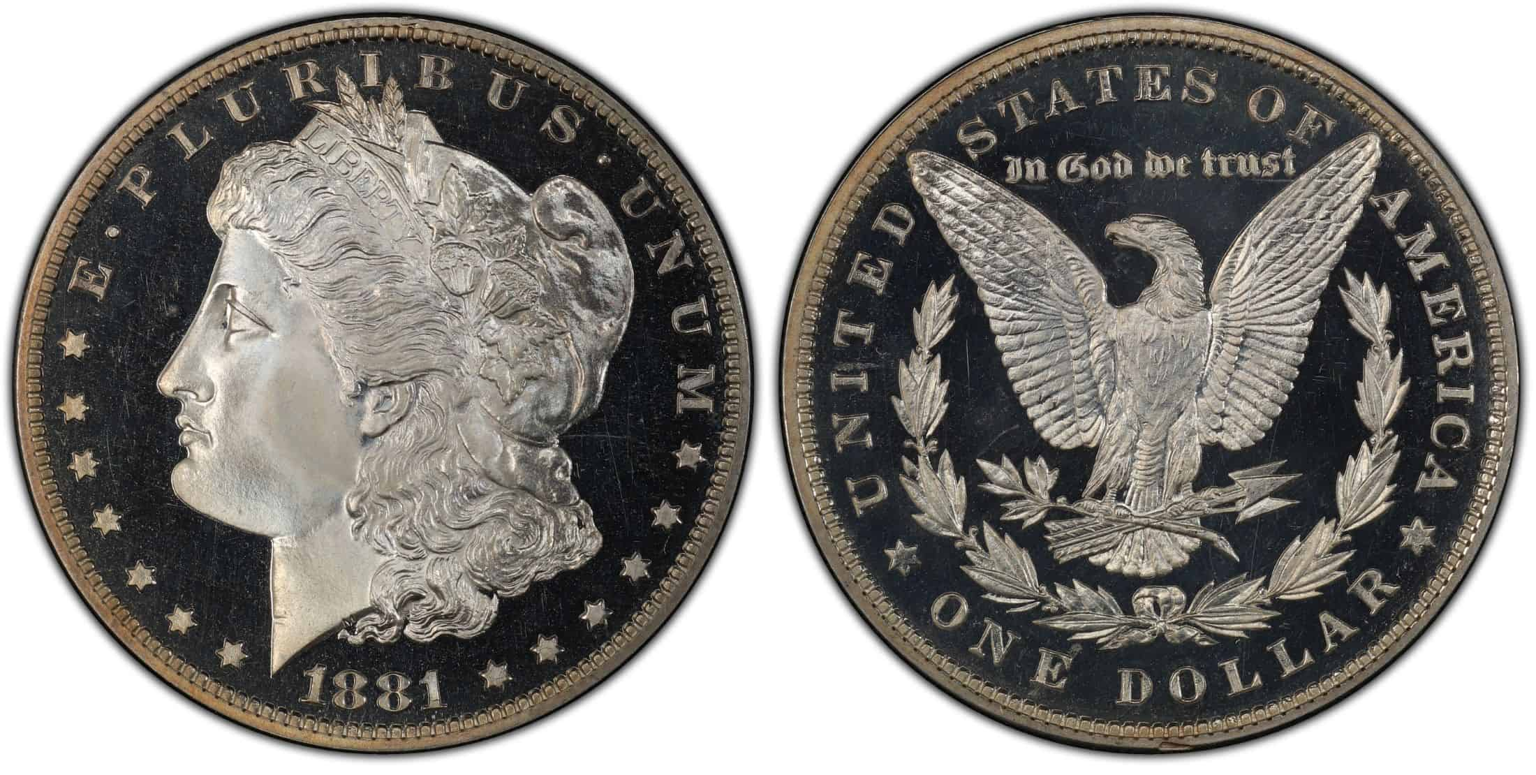 1881 proof Morgan silver dollar
